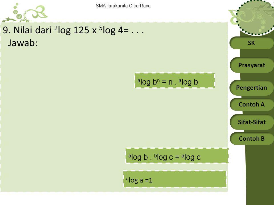 9. Nilai dari 2log 125 x 5log 4= . . . Jawab: alog bn = n . alog b