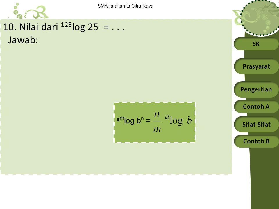 10. Nilai dari 125log 25 = . . . Jawab: amlog bn =