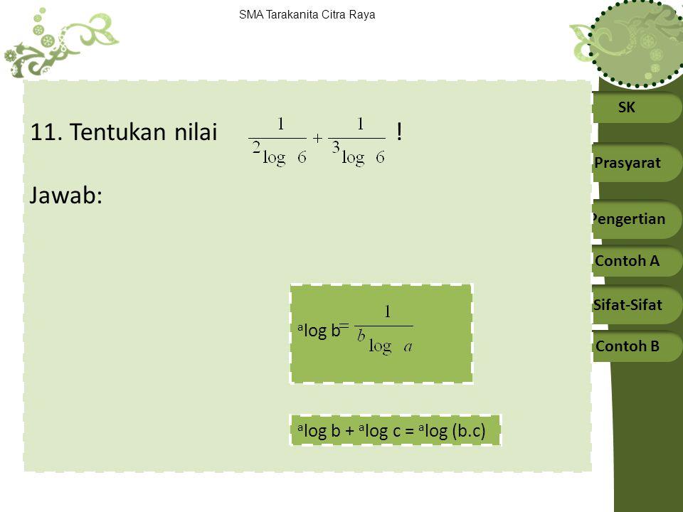 11. Tentukan nilai ! Jawab: alog b alog b + alog c = alog (b.c)