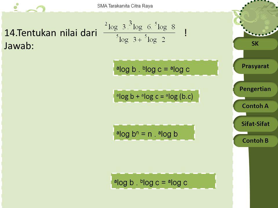 14.Tentukan nilai dari ! Jawab: alog b . blog c = alog c