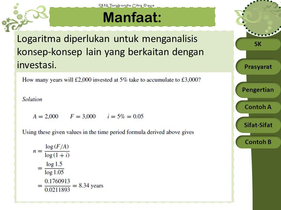 Manfaat: Logaritma diperlukan untuk menganalisis konsep-konsep lain yang berkaitan dengan investasi.