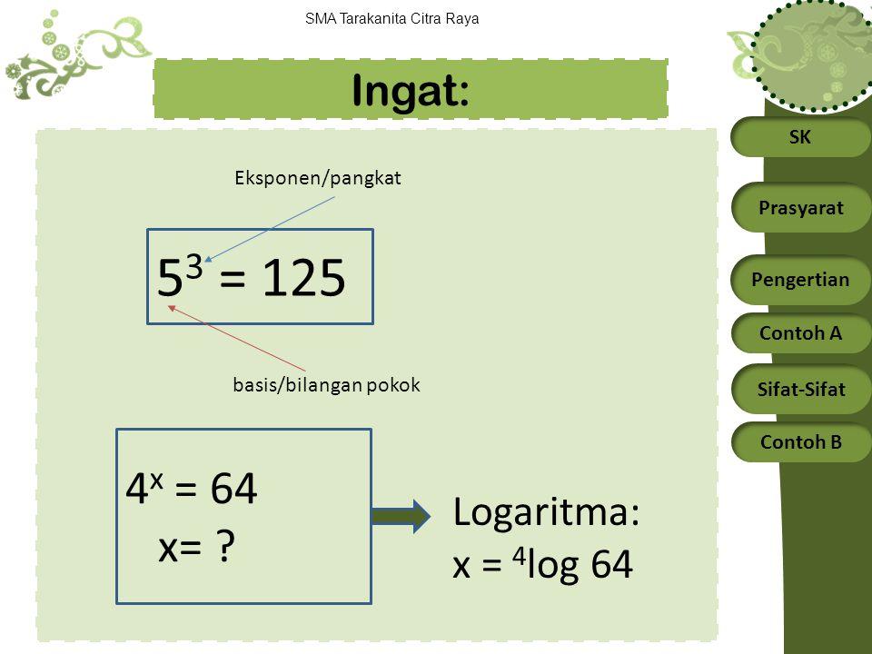 53 = 125 4x = 64 x= Ingat: Logaritma: x = 4log 64 Eksponen/pangkat