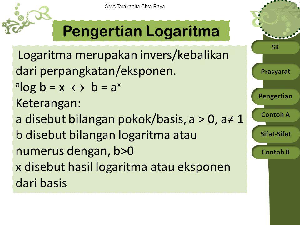 Pengertian Logaritma alog b = x  b = ax Keterangan: