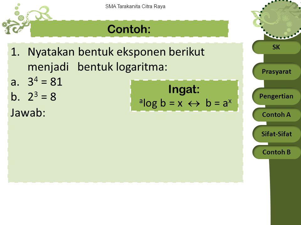 Nyatakan bentuk eksponen berikut menjadi bentuk logaritma: 34 = 81