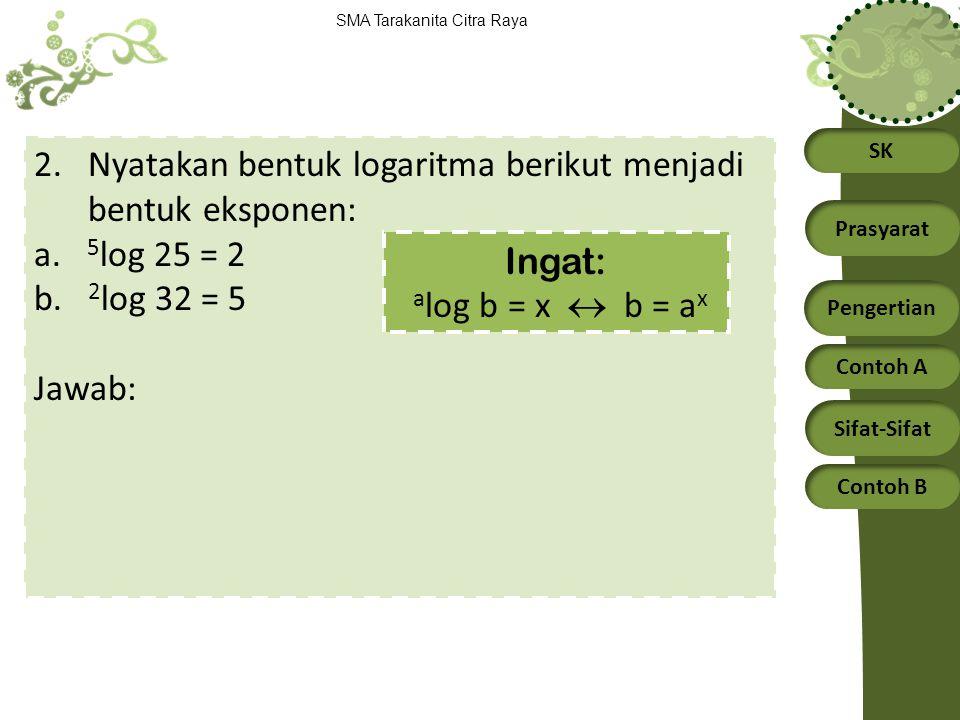 Nyatakan bentuk logaritma berikut menjadi bentuk eksponen: