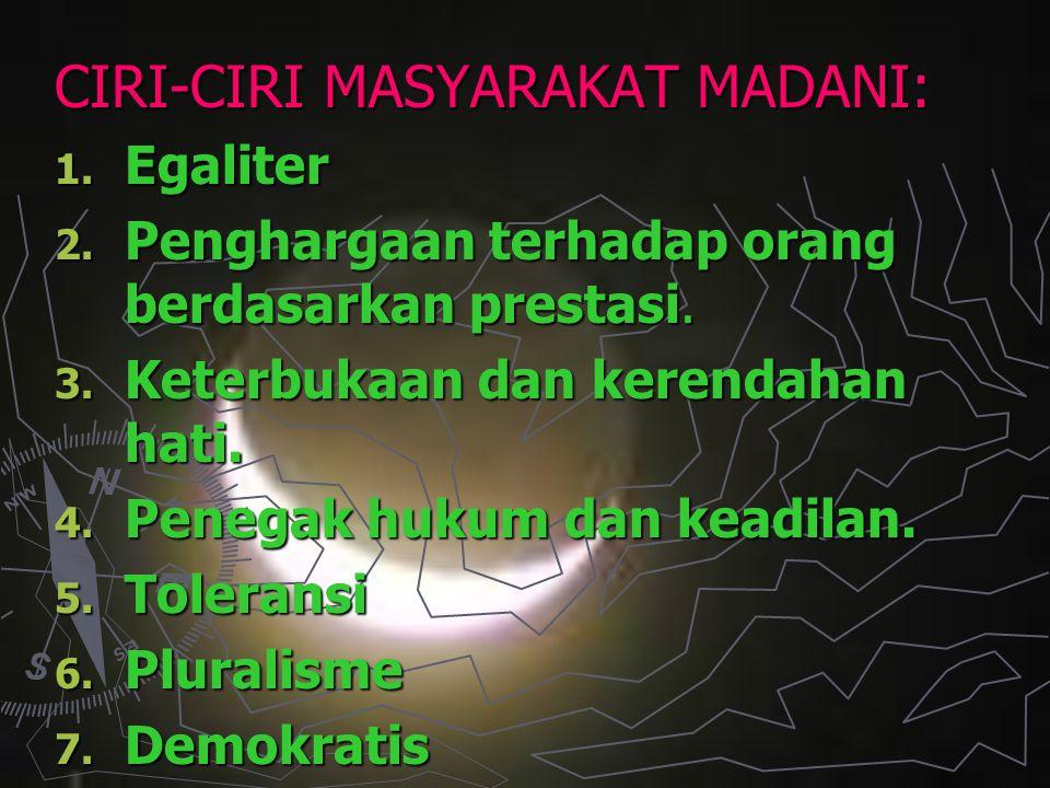 CIRI-CIRI MASYARAKAT MADANI:
