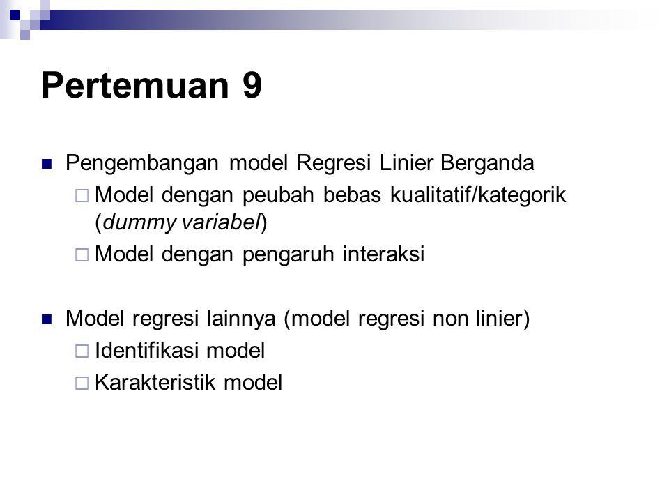 Pertemuan 9 Pengembangan model Regresi Linier Berganda