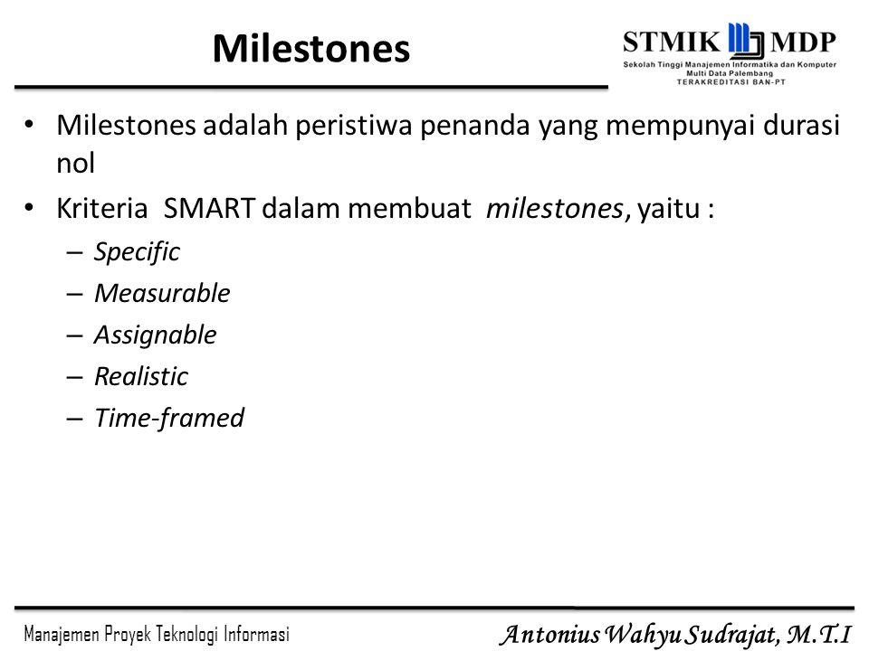 Milestones Milestones adalah peristiwa penanda yang mempunyai durasi nol. Kriteria SMART dalam membuat milestones, yaitu :