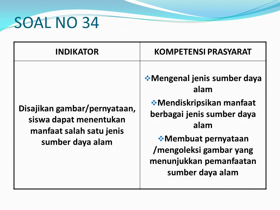SOAL NO 34 INDIKATOR KOMPETENSI PRASYARAT