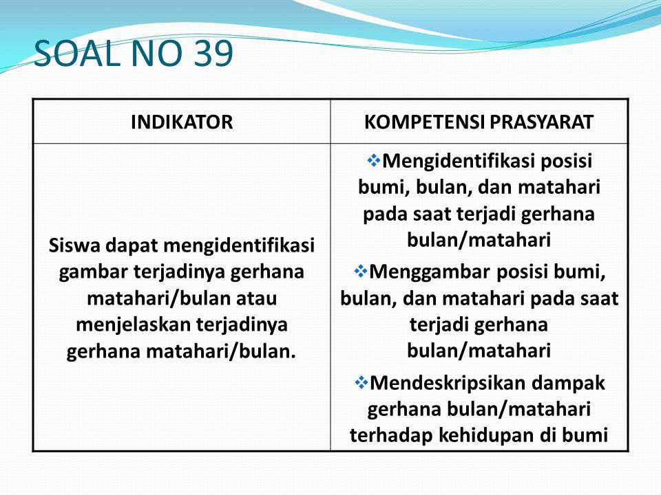 SOAL NO 39 INDIKATOR KOMPETENSI PRASYARAT