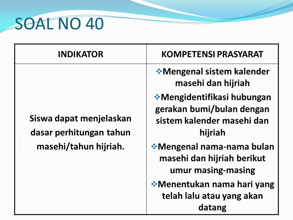 SOAL NO 40 INDIKATOR KOMPETENSI PRASYARAT Siswa dapat menjelaskan