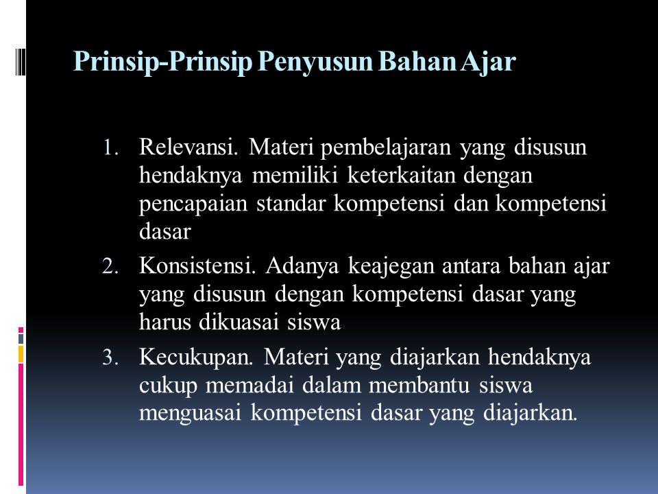 Prinsip-Prinsip Penyusun Bahan Ajar