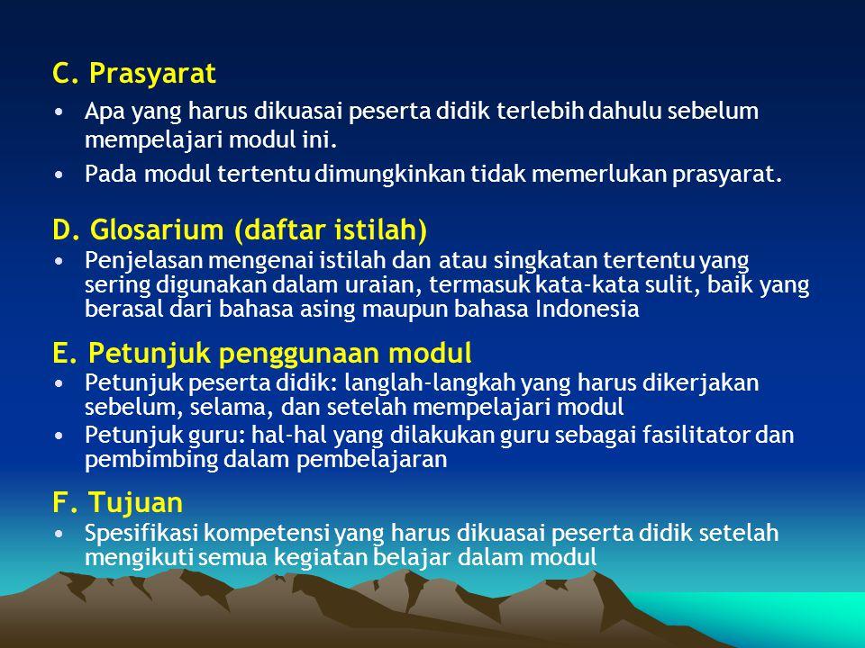 D. Glosarium (daftar istilah)
