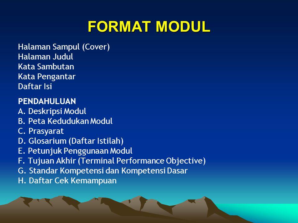 FORMAT MODUL Halaman Sampul (Cover) Halaman Judul Kata Sambutan
