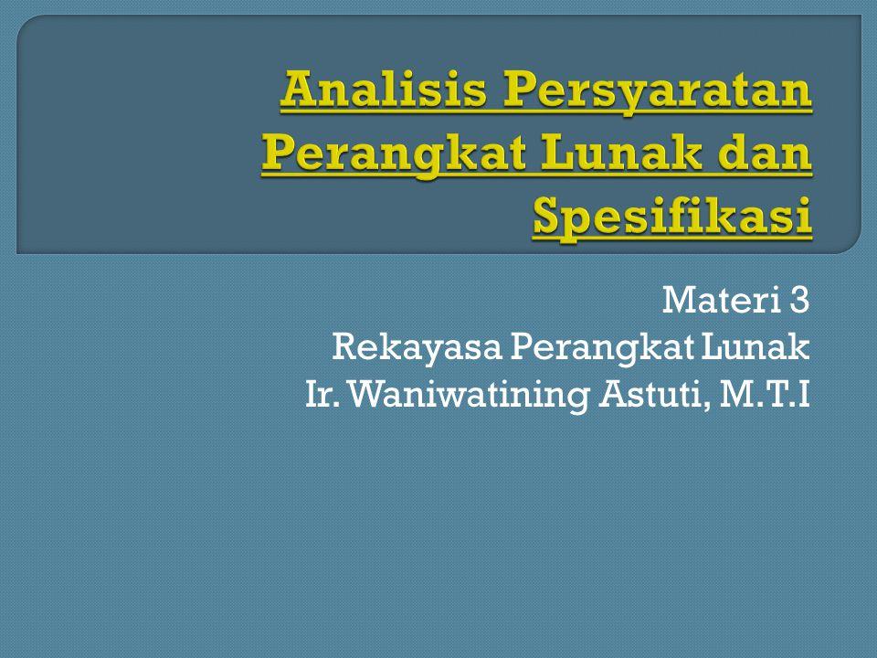 Analisis Persyaratan Perangkat Lunak dan Spesifikasi