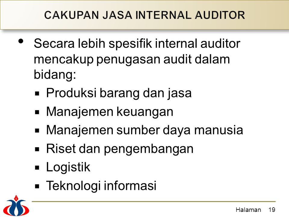 CAKUPAN JASA INTERNAL AUDITOR