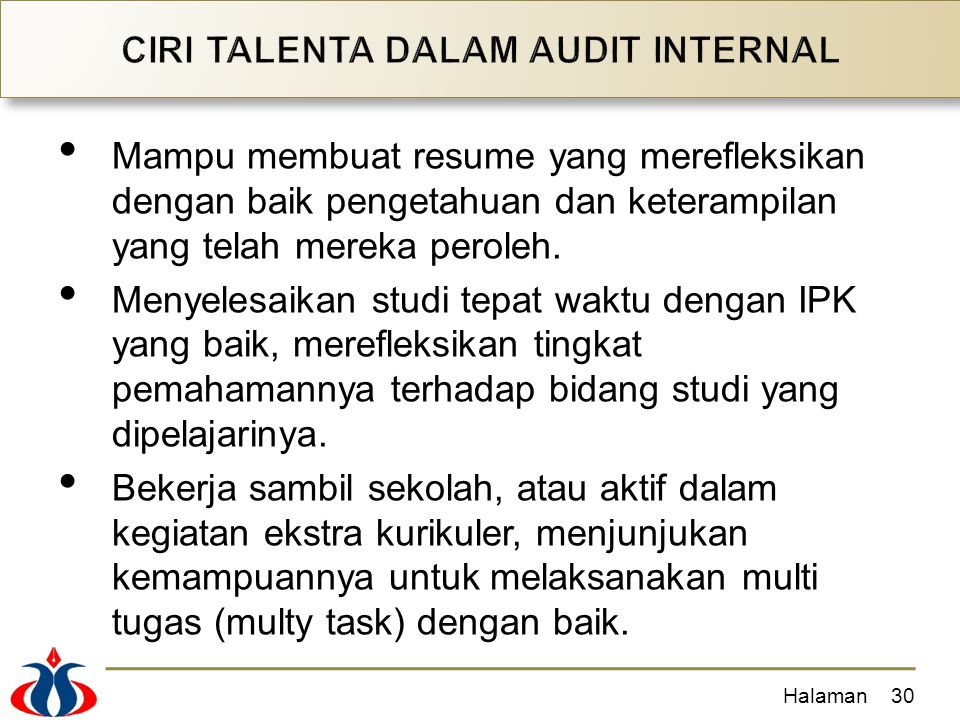 CIRI TALENTA DALAM AUDIT INTERNAL