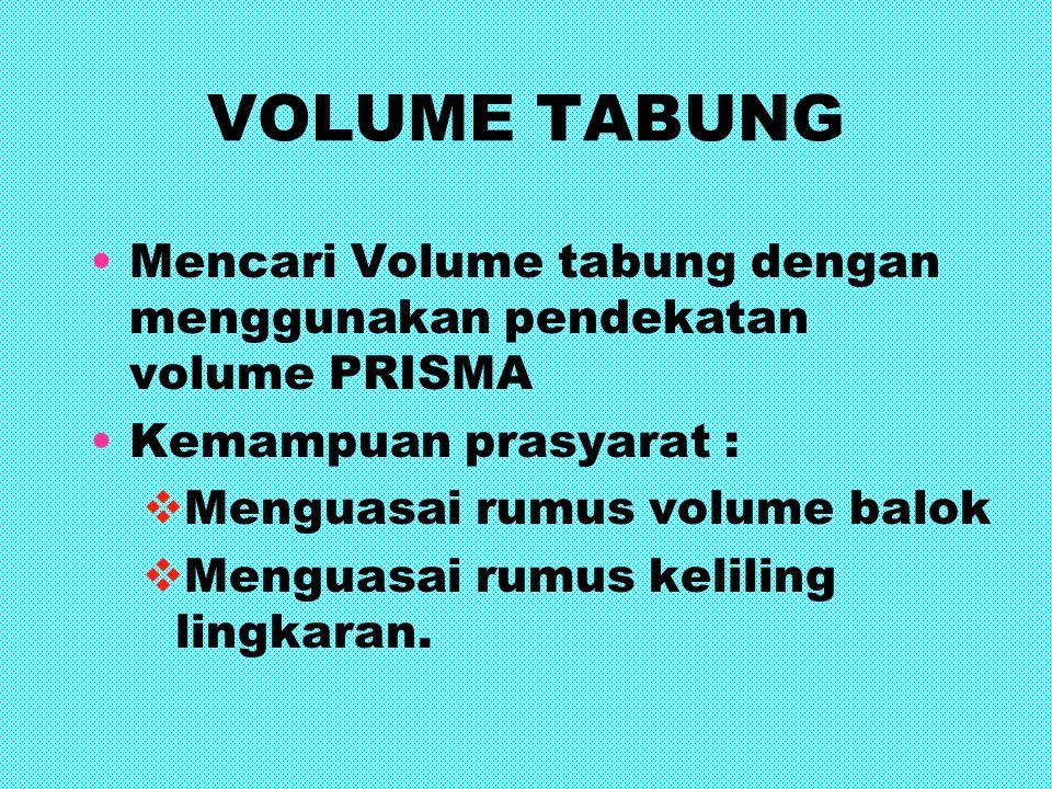 VOLUME TABUNG Mencari Volume tabung dengan menggunakan pendekatan volume PRISMA. Kemampuan prasyarat :