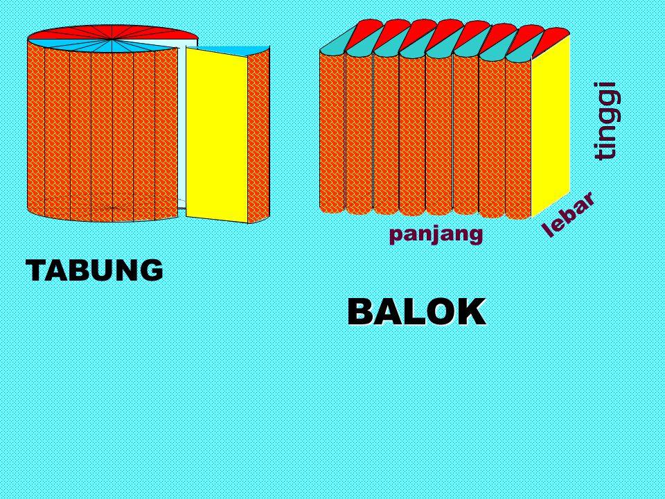 tinggi lebar panjang TABUNG BALOK