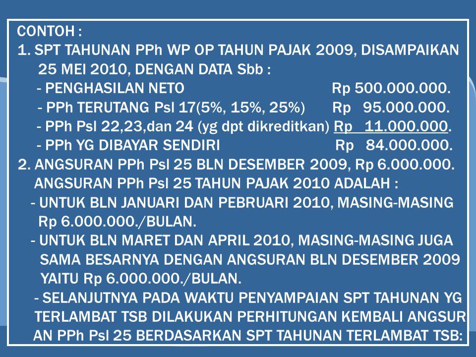 1. SPT TAHUNAN PPh WP OP TAHUN PAJAK 2009, DISAMPAIKAN