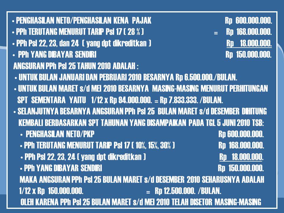 PENGHASILAN NETO/PENGHASILAN KENA PAJAK Rp 600.000.000.