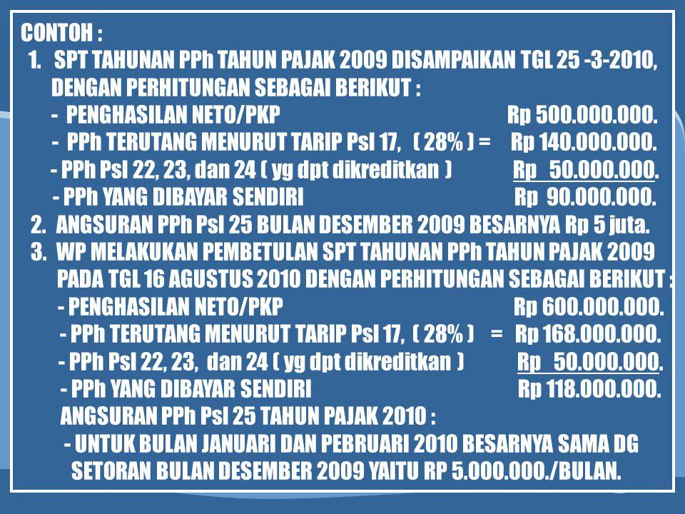 SPT TAHUNAN PPh TAHUN PAJAK 2009 DISAMPAIKAN TGL 25 -3-2010,