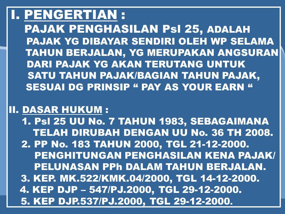I. PENGERTIAN : PAJAK PENGHASILAN Psl 25, ADALAH
