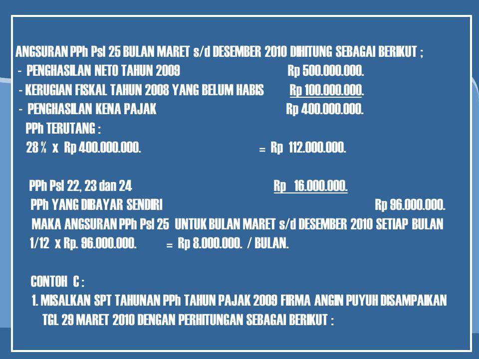 - PENGHASILAN NETO TAHUN 2009 Rp 500.000.000.