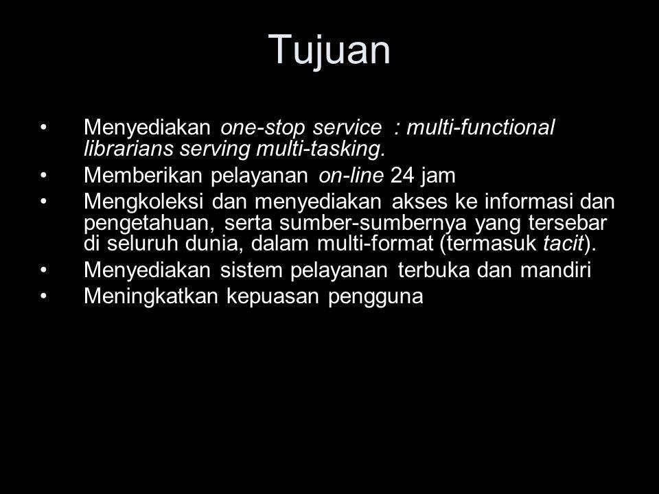 Tujuan Menyediakan one-stop service : multi-functional librarians serving multi-tasking. Memberikan pelayanan on-line 24 jam.