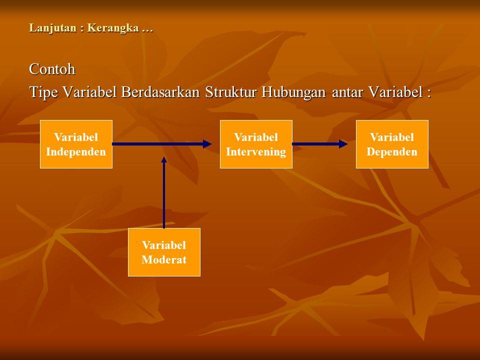Tipe Variabel Berdasarkan Struktur Hubungan antar Variabel :