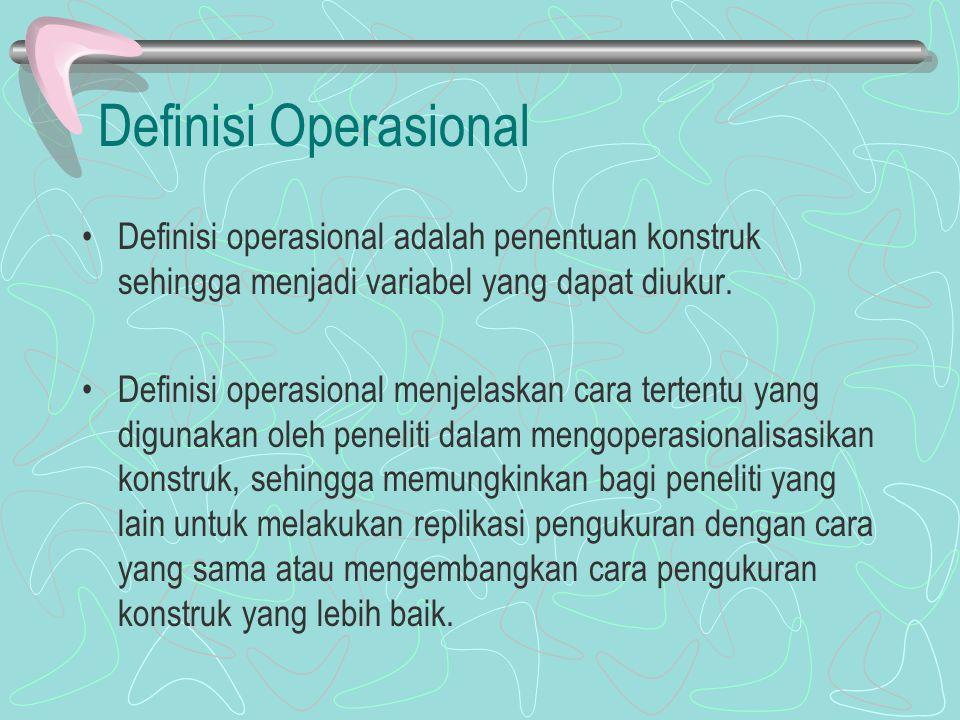 Definisi Operasional Definisi operasional adalah penentuan konstruk sehingga menjadi variabel yang dapat diukur.