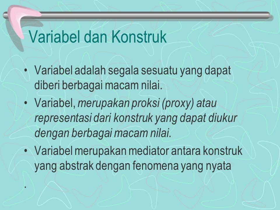 Variabel dan Konstruk Variabel adalah segala sesuatu yang dapat diberi berbagai macam nilai.