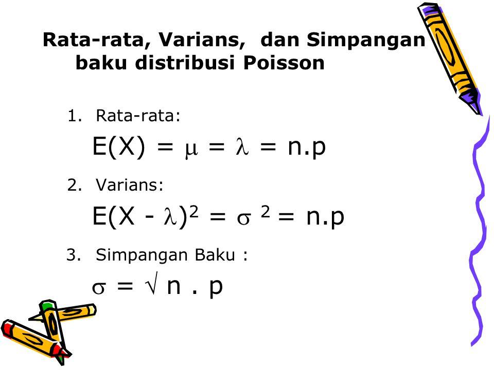 Rata-rata, Varians, dan Simpangan baku distribusi Poisson