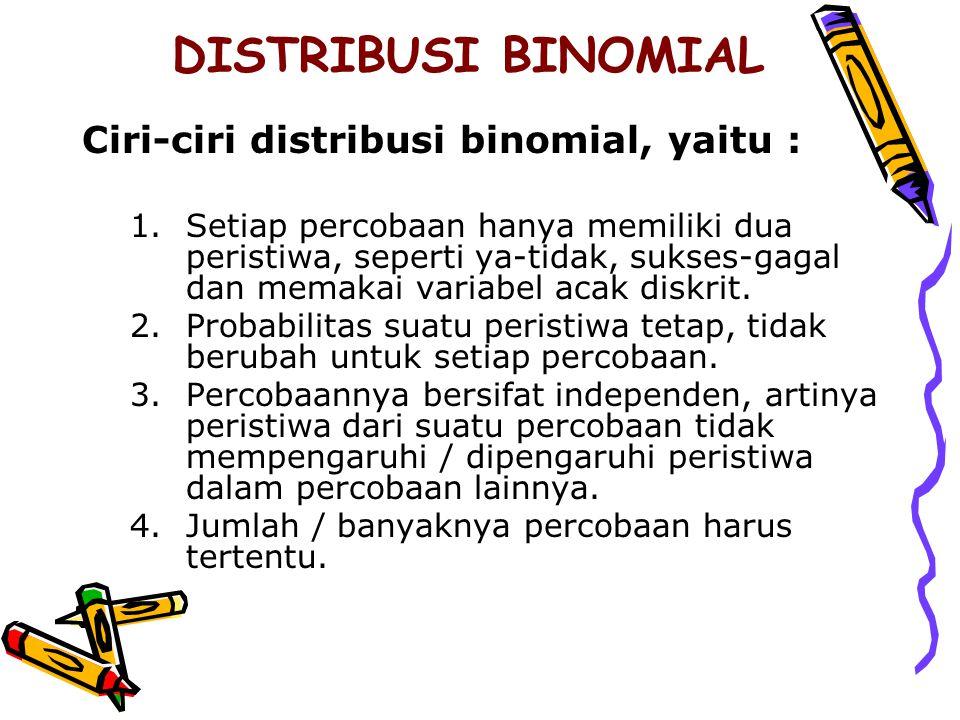DISTRIBUSI BINOMIAL Ciri-ciri distribusi binomial, yaitu :