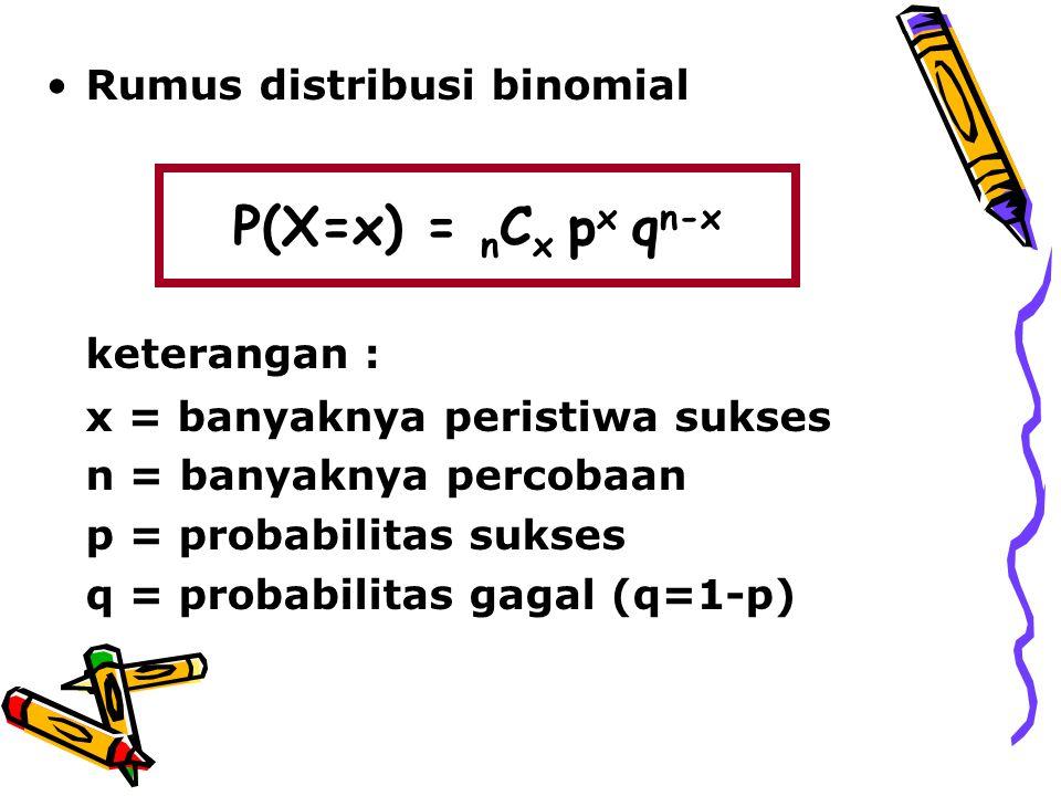 P(X=x) = nCx px qn-x keterangan : Rumus distribusi binomial