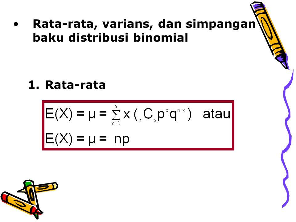 Rata-rata, varians, dan simpangan baku distribusi binomial
