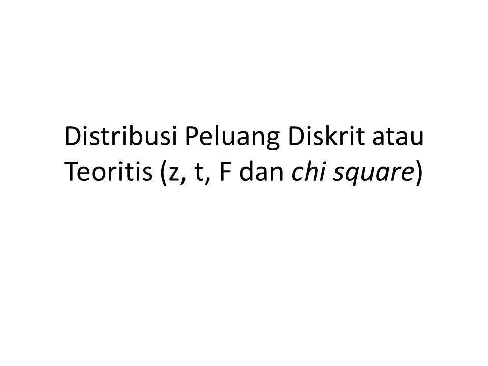 Distribusi Peluang Diskrit atau Teoritis (z, t, F dan chi square)