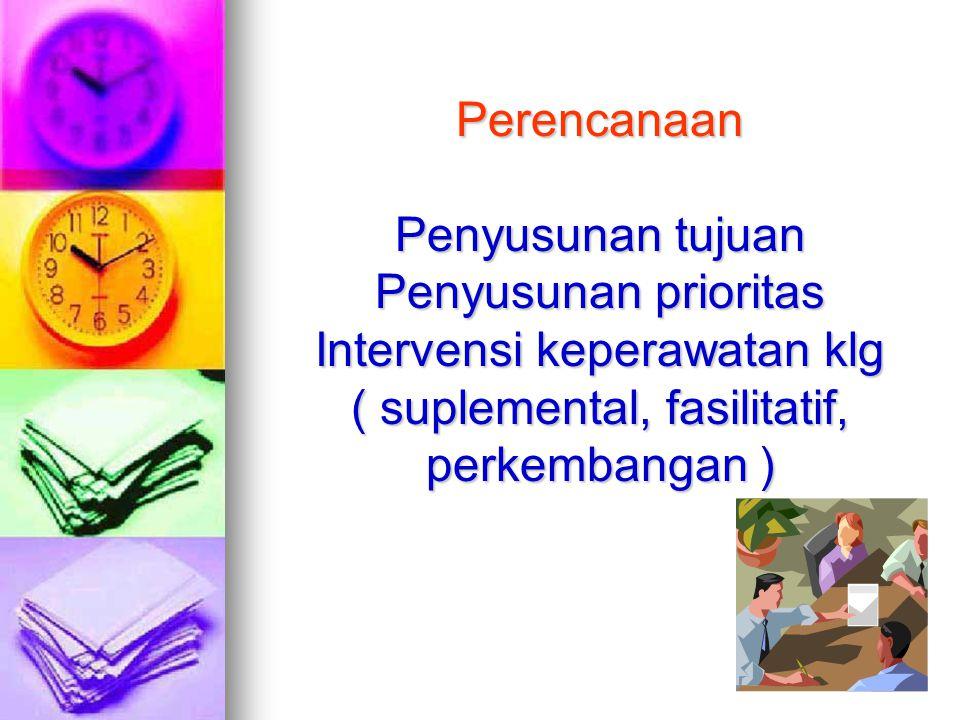 Perencanaan Penyusunan tujuan Penyusunan prioritas Intervensi keperawatan klg ( suplemental, fasilitatif, perkembangan )