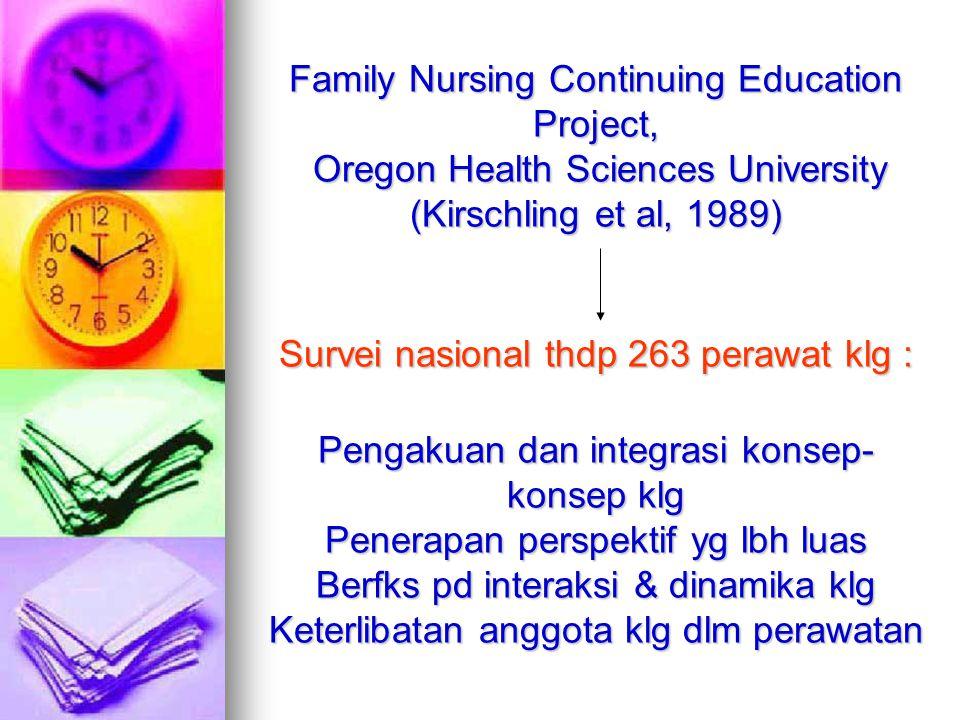 Family Nursing Continuing Education Project, Oregon Health Sciences University (Kirschling et al, 1989) Survei nasional thdp 263 perawat klg : Pengakuan dan integrasi konsep-konsep klg Penerapan perspektif yg lbh luas Berfks pd interaksi & dinamika klg Keterlibatan anggota klg dlm perawatan