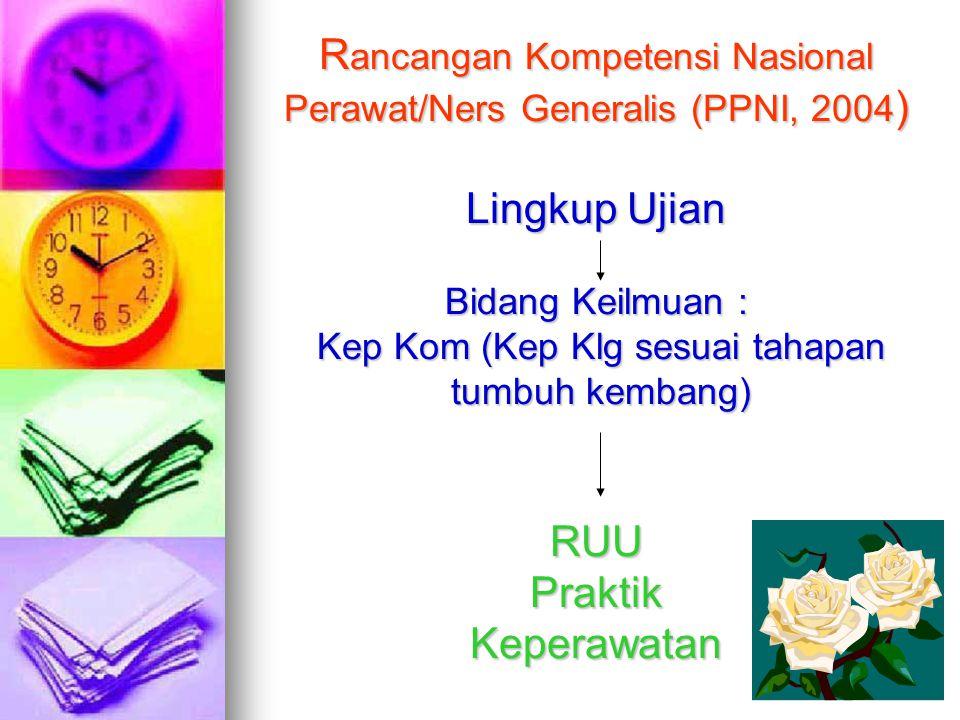 Rancangan Kompetensi Nasional Perawat/Ners Generalis (PPNI, 2004) Lingkup Ujian Bidang Keilmuan : Kep Kom (Kep Klg sesuai tahapan tumbuh kembang) RUU Praktik Keperawatan