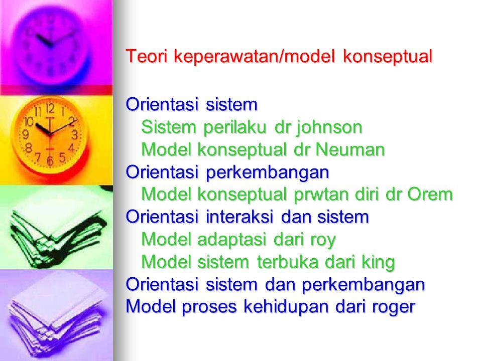 Teori keperawatan/model konseptual Orientasi sistem Sistem perilaku dr johnson Model konseptual dr Neuman Orientasi perkembangan Model konseptual prwtan diri dr Orem Orientasi interaksi dan sistem Model adaptasi dari roy Model sistem terbuka dari king Orientasi sistem dan perkembangan Model proses kehidupan dari roger