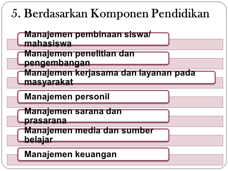 5. Berdasarkan Komponen Pendidikan