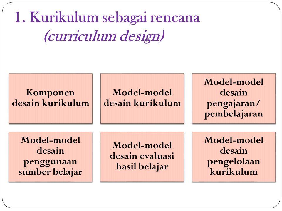 1. Kurikulum sebagai rencana (curriculum design)