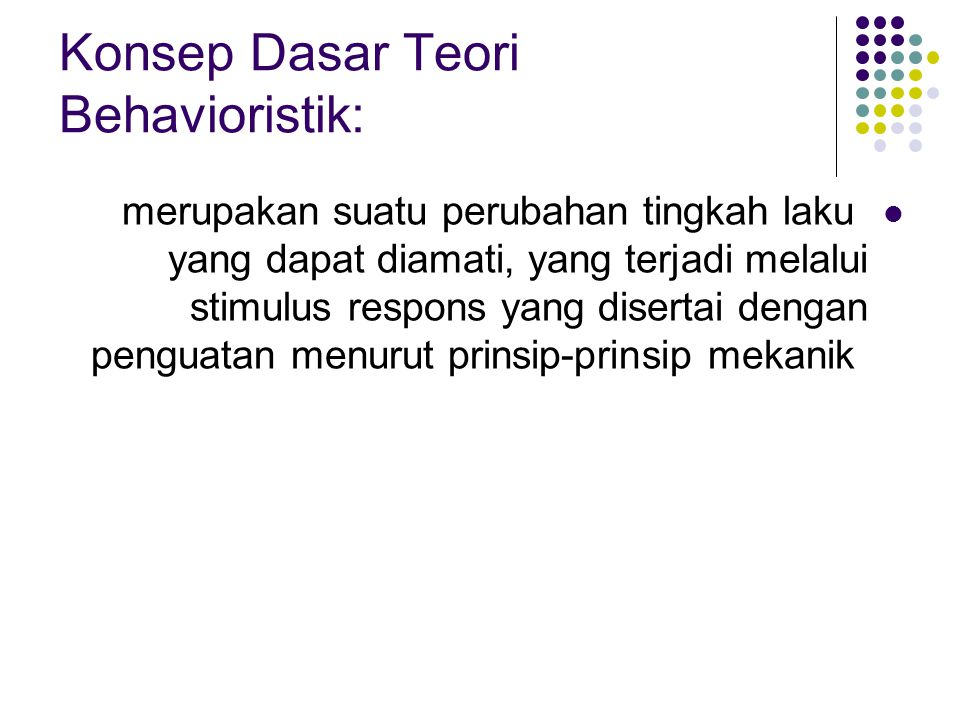Konsep Dasar Teori Behavioristik:
