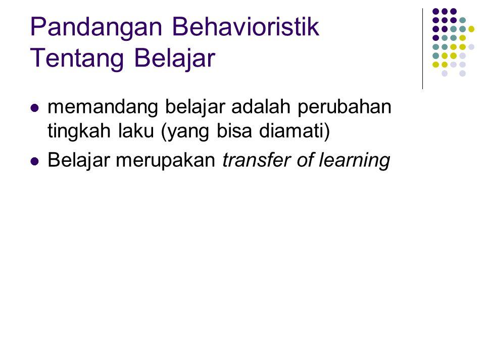 Pandangan Behavioristik Tentang Belajar