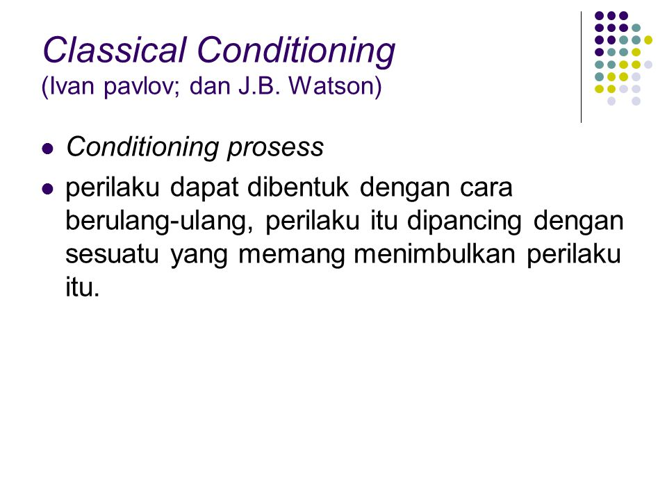 Classical Conditioning (Ivan pavlov; dan J.B. Watson)