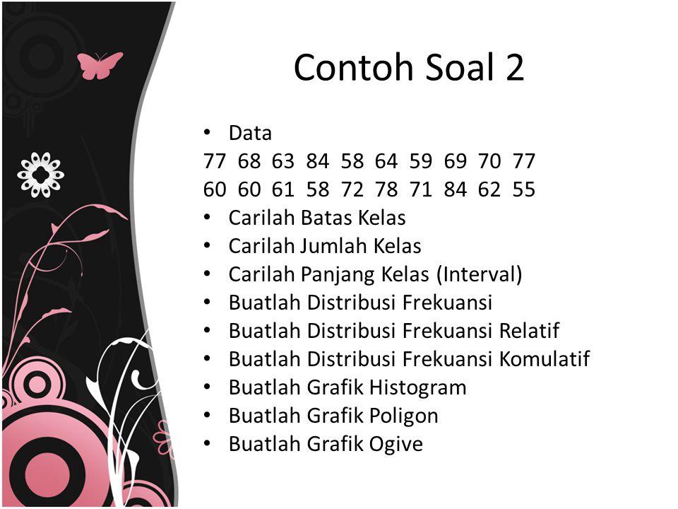 Contoh Soal 2 Data. 77 68 63 84 58 64 59 69 70 77. 60 60 61 58 72 78 71 84 62 55.
