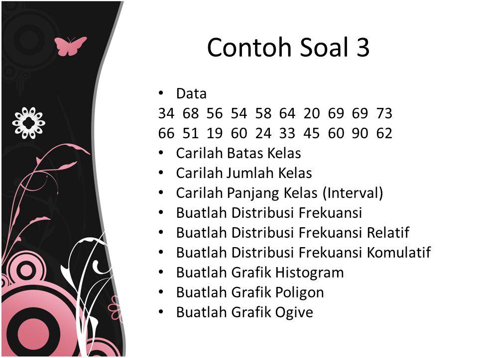 Contoh Soal 3 Data. 34 68 56 54 58 64 20 69 69 73. 66 51 19 60 24 33 45 60 90 62.