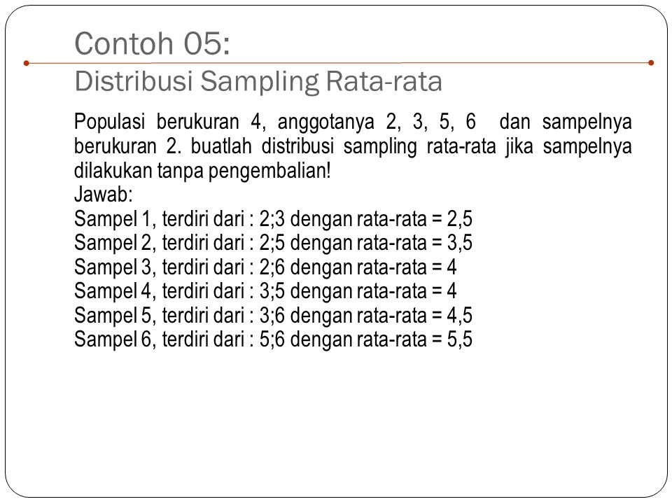Contoh 05: Distribusi Sampling Rata-rata