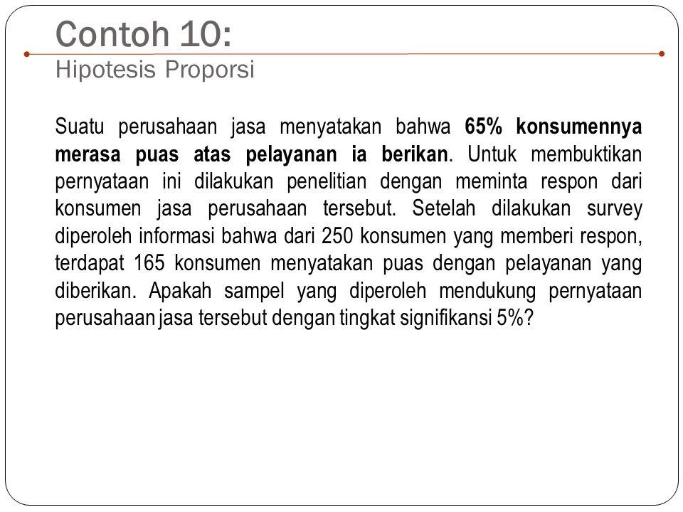 Contoh 10: Hipotesis Proporsi